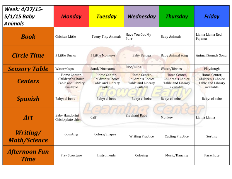 Howell early learning center the perfect place to learn for Home plan weekly